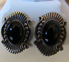 Vintage NAVAJO Sterling Silver & Black Jet Signed Post EARRINGS