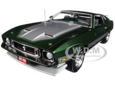 1973 FORD MUSTANG MACH 1 DARK GREEN W/ STRIPES LTD ED 1/18 BY AUTOWORLD AMM1144
