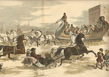 Horse Drawn Sleigh, Boston, Norfolk House, Roxbury, 1856 Antique Art, Print,
