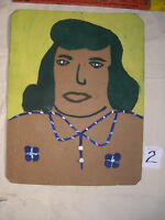 "ALVA  GENE  DEXHIMER FOLK ART PAINTING  OUTSIDER VINTAGE "" Lady"" Dark hair#2"