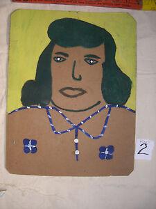 """ALVA  GENE  DEXHIMER FOLK ART PAINTING  OUTSIDER VINTAGE """" Lady"""" Dark hair#2"""