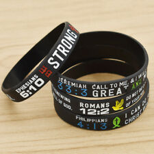 Silicone Bible Verse Letter Bracelet Wristband Men Women Couples Rubber Bangles