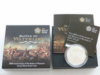 2015 Royal Mint Battle of Waterloo £5 Five Pound Silver Proof Coin Box Coa