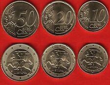 Lithuania euro set (3 coins): 10, 20, 50 cents 2015 UNC