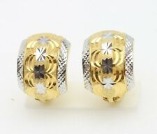 18k gold TWO TONES  diamond cut  hoop clip earring 3.2 gram #B4