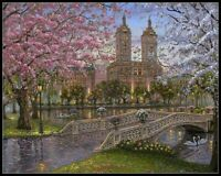Spring in the Park - DIY Chart Counted Cross Stitch Patterns Needlework 14 ct