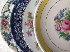 """Set 4 Vintage Mismatched China Dessert Cake Salad 7.75 to 8.5"""" Plates Colorful"""