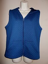 BonWorth NWT Petites Size PXS Solid Blue Zip Up Quilted Hoodie Sleeveless