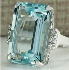 Stunning 6.86 ct Aquamarine Cocktail Silver Plated Ring Size N 1/2