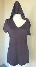 Ibex merino hooded T shirt, violet, women's M