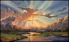 Wm HAWKINS Glowing Clouds Fantasy Landscape River Impressionism Oil Painting Art