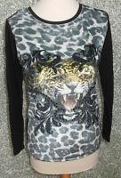 215 123 Crazy Daisy Langarm Shirt Gr. S schwarz Druck Strass Materialmix NEU