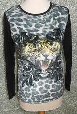 215 124 Crazy Daisy Camiseta Talla S Negro Estampado Tigre Estrás