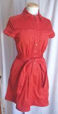 Women's Banana Republic Button-Front Shirt Dress-2-Dark Orange-EUC-S/S