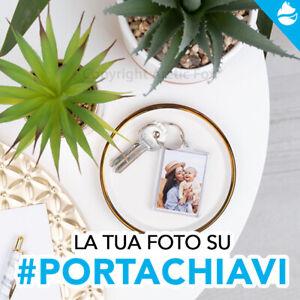 Portachiavi platica o ecopelle personalizzato con foto frase dedica idea regalo