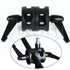 Dual Head Swivel Wheel Holder Bracket For Studio Photographic Grip Arm Stand