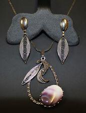 Vintage Filigree Design Polished Stone Pendant & Filigree Earrings Set ST Ex 98