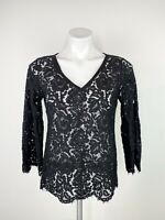 White House Black Market Black Floral V Neck Lace Bell Sleeve 3/4 Sleeve Top XS
