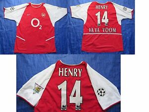 Thierry Henry ARSENAL LONDON GUNNERS Home Shirt by NIKE 2002-2004 /red/ adult/ L