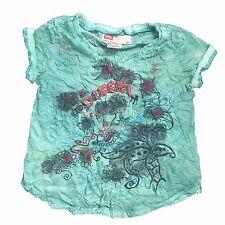 Diesel Girls Tieto Short Sleeve T-Shirt Designer Top Green Age 3-6 Years NEW