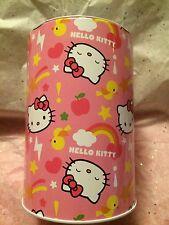 """NEW Sanrio Hello Kitty Coin Bank Pencil Tin Metal Piggy Bank Money Save Lid 6"""""""