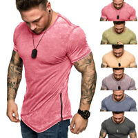 Men Gym Tight Tops T-Shirt Short Sleeve Slim Fit V-Neck Casual Fitness Plus