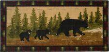 Lodge Cabin Rug Mat Bear Cub Paw Black Red Beige Washable Accent Matching Set