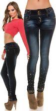 Koucla Skinny Jeans Damen Jeans mit Nieten und Strass