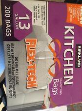 New Kirkland Signature Flex Tech Drawstring Kitchen Trash Bags 13 Gallon 200 ct