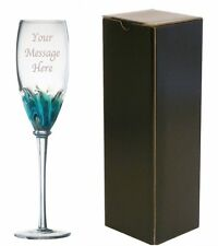 Personalised Engraved Blue Champagne Glass Flute 18th 21st 30th 40th 50th 60th