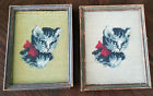 """Two Vintage Needlepoint Cat Prints with Original Frames ~ 7"""" W X 8 3/4"""" H"""