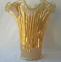 Genuine Italian Art Deco Glass Vase Golden Amber Tammaro Italy Murano No 491