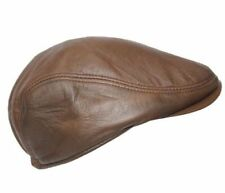 Men's Leather Ivy  WD BROWN Lambskin Bunnet Newsboy Beret Cabbie Gatsby Flat Cap