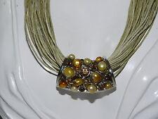Slide Pendant Pearl Rhinestone Multi Strand Cord Silver Necklace extndr 8h 26