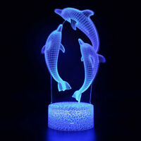3D Lamp Dolphin Optical Illusion Led Night Light 7 Colors Touch Switch