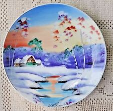 VINTAGE 1950's COLORFUL HAND PAINTED PORCELAIN PLATE - WINTER SCENE - JAPAN