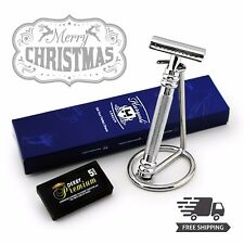 Retro Stainless Steel DE Safety Classic Razor & Stand Men's Wet Shaving Gift Kit