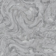 AZURITE Grey and Silver Marble Wallpaper Oil Swirl Design by Holden Decor 90122