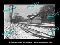 OLD LARGE HISTORIC PHOTO OF CHICAGO ILLINOIS, FOREST GLEN RAILROAD DEPOT c1950