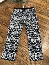 Sanctuary Clothing Drawstring Print Pant Black White Wide Leg Medium NWT