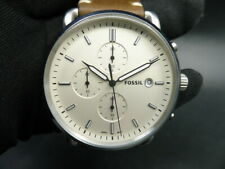 New Old Stock - Fossil COMMUTER FS5402 - Cream Dial Brown Leather Men Watch