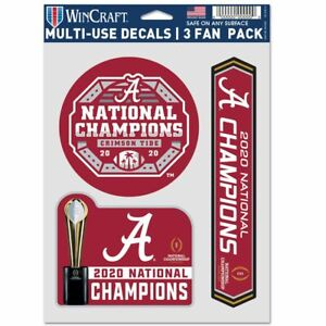ALABAMA CRIMSON TIDE 2020 NATIONAL CHAMPIONS 3-MULTI USE DECALS FAN PACK NEW 🐘