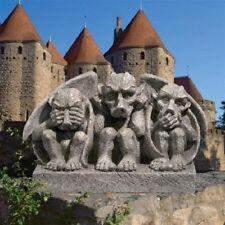 Gothic Medieval Trio of Gargoyle Creatures Sculpture Statue