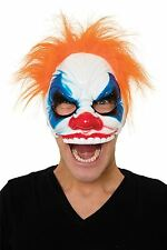 Scary Half Face Clown Mask & Hair Halloween Fancy Dress Costume Prop