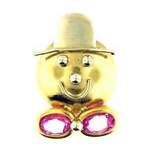14 Kt White & Yellow Gold Pink Rose Quartz Clown Pin Brooch