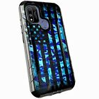 Silver Combat Case for Coolpad Suva / CP3669AANB Phone Cover - BLUE CAMO US FLAG