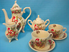 Lily Creek Woodland Joy 9 Piece Tea Set Christmas Holiday Porcelain Red White