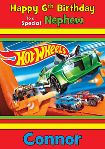 Hot Wheels personalised A5 birthday card - any NAME AGE RELATION