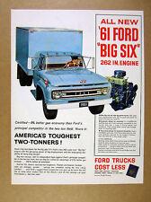 1961 Ford F-600 Box Truck blue truck illustration art vintage print Ad