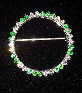 Elegant 14K WG Eternity Pin with .64ct. Fiery Diamonds & 45ct Brilliant Emeralds